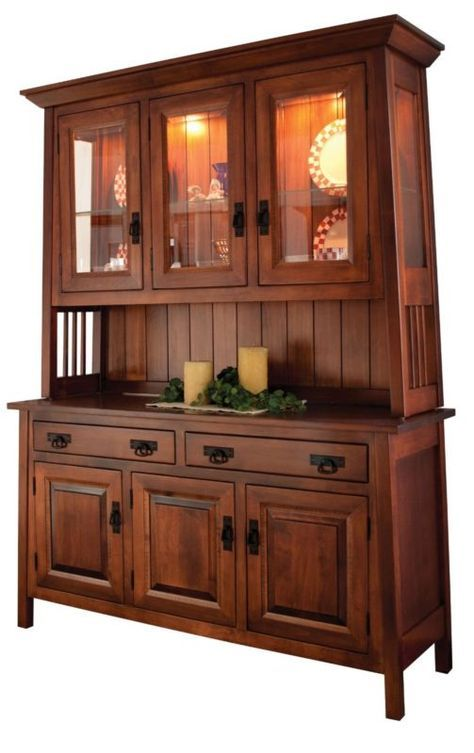 Amish Dining Room Mission Hutch Buffet Server China Cabinet Solid Wood Inlay