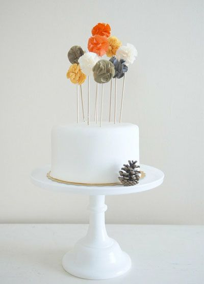 simple cake; pretty blooms but I could make them into owls or pumpkins or anything….. A shower idea