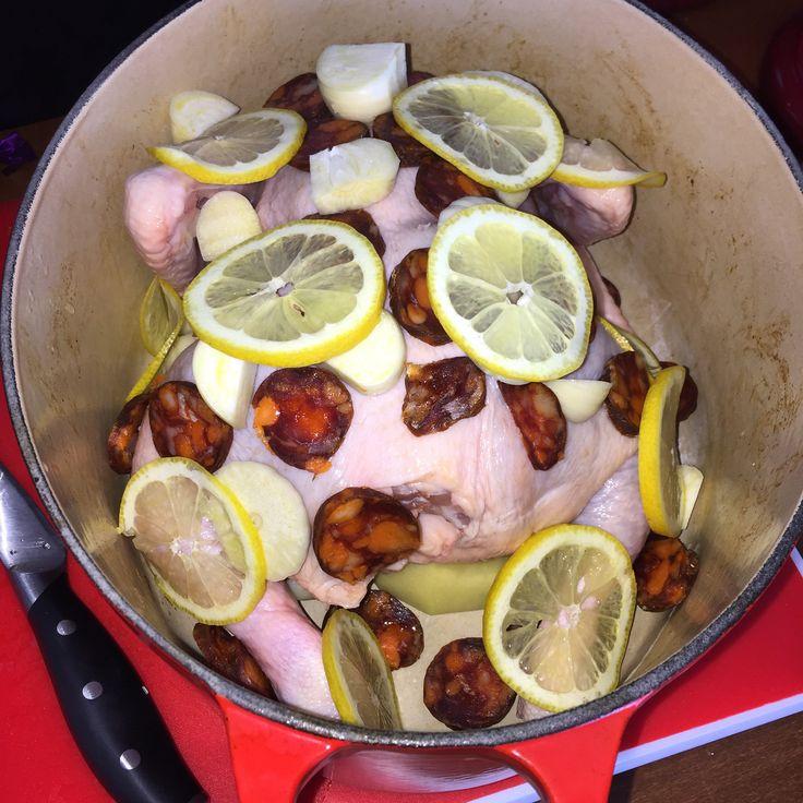 Citron/chorizo kylling i stegeso langtidsstegning i ovn.