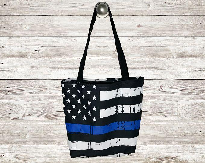Delgada línea azul bandera americana bolsa, agente de la policía, detrás la bolsa azul, materia de la vida azul, bolso de mano personalizado, Monograma