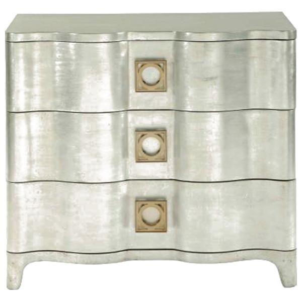 Best Bernhardt Salon Antique Silver Leaf Nightstand Silver 400 x 300