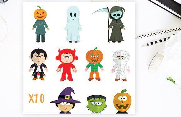 Halloween Clipart Monsters Set by CutePaperStudio on @creativemarket