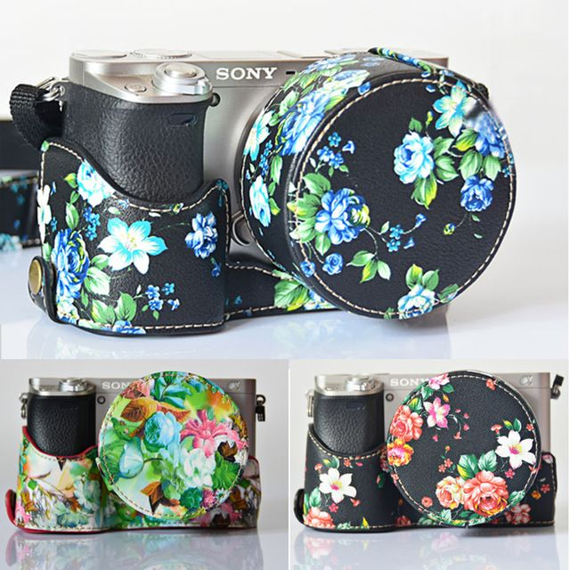 Flower PU Leather Waterproof Mirrorless Compact Camera Bag Strap Belt Cover Pouch Sheath Insert Case For Sony A6000 A5000 16-50