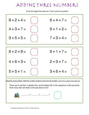 1st Grade Math Worksheets Adding Three Numbers - addition ...