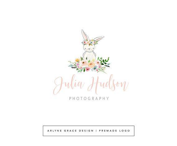 Premade Logo - Watercolor Logo - Logo Design - Bunny Logo - Rabbit Logo - Photography Logo - Floral Logo - Flower Logo - Boutique Logo