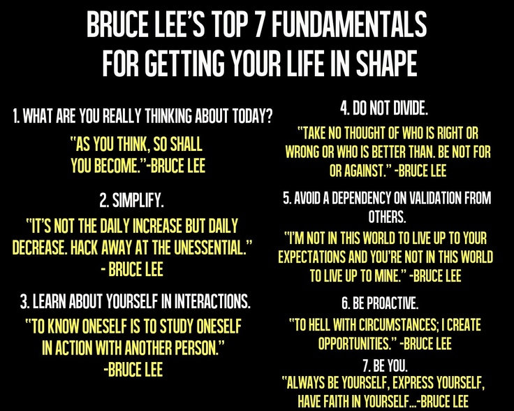 Bruce Lee S Top 7 Fundamentals For Getting Your Life In Shape Quotes Motivation