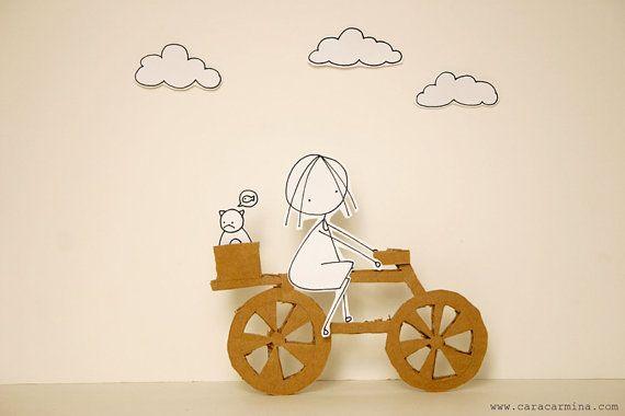 Love my bike  Photo print  Paper diorama  letter by Caracarmina, $20.00