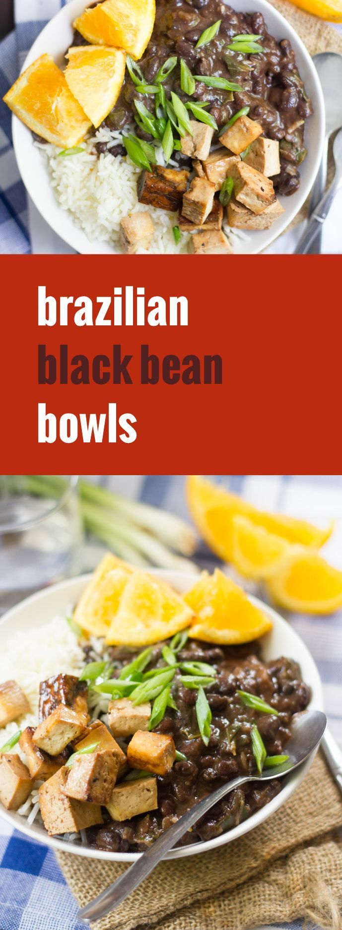 Brazilian black bean stew is piled atop fluffy rice and served with savory tofu bacon and orange wedges to create these flavorful and hearty protein-packed vegan bowls.