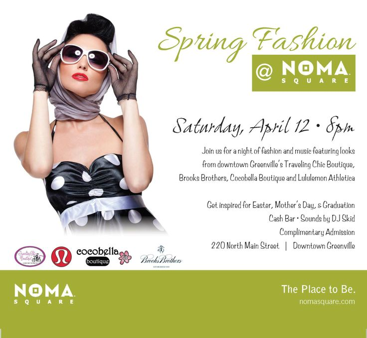 FREE Spring #fashionshow coming to #NOMASquare on April 12 at 8pm! #yeahTHATgreenville http://nomasquare.com/