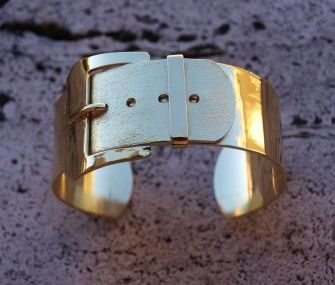 Brass bracelet with belt, www.lemetissage.it