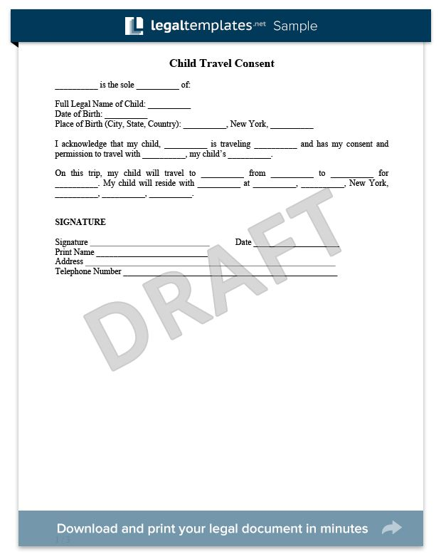 Child Travel Consent Form Sample