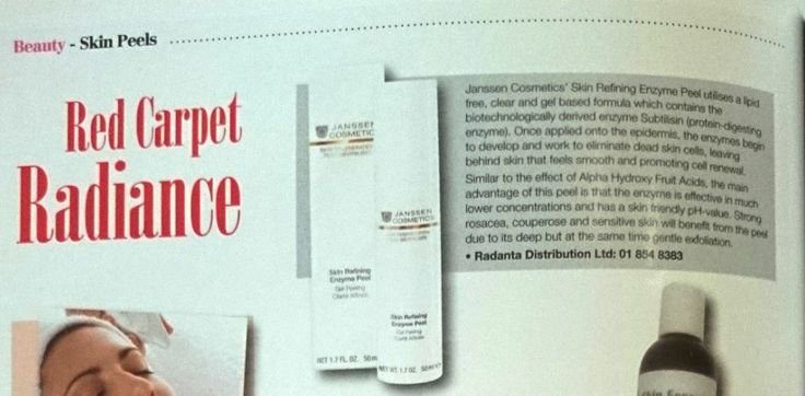 Check out our best selling product - Skin Refining Enzyme Peel which is showcased in Irish Beauty magazine February issue 2014. http://www.janssen-cosmetics-shop.ie