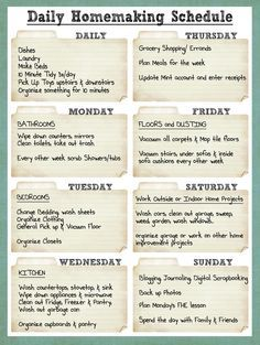 A Cleaning Rota youll feel satisfied  at end of you week.  You've not had to think what needs to be done .