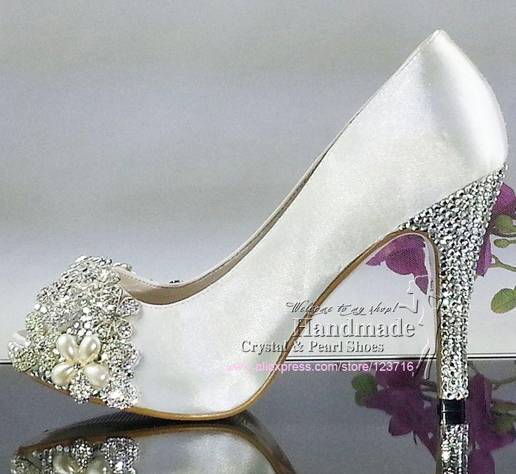 Handmade Swarovski Crystal White Satin Wedding Shoes $158.30