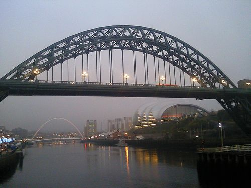 The Tyne Bridge in Newcastle upon Tyne, England. Walking along the River Tyne at dusk: http://www.europealacarte.co.uk/blog/2011/12/29/newcastle-bridges/