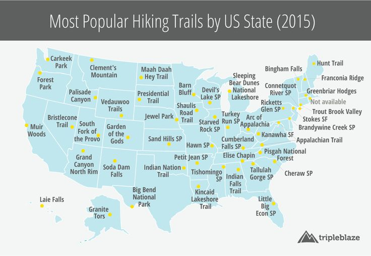 Interactive Map of Most Popular Hiking Trails in the USA, State-by-State 2015