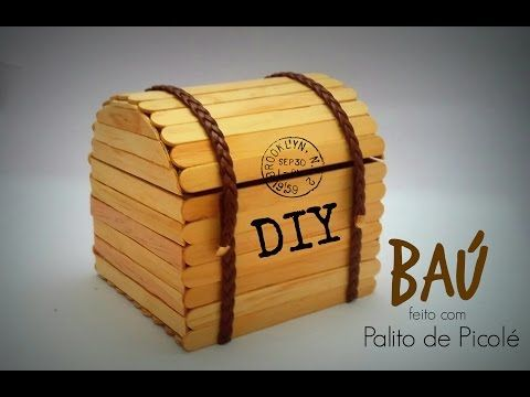 DIY │[Série Palitos de Picolé] 1 - Baú (Chest stick popsicle) - Cristiane Mendes - YouTube                                                                                                                                                     Mais