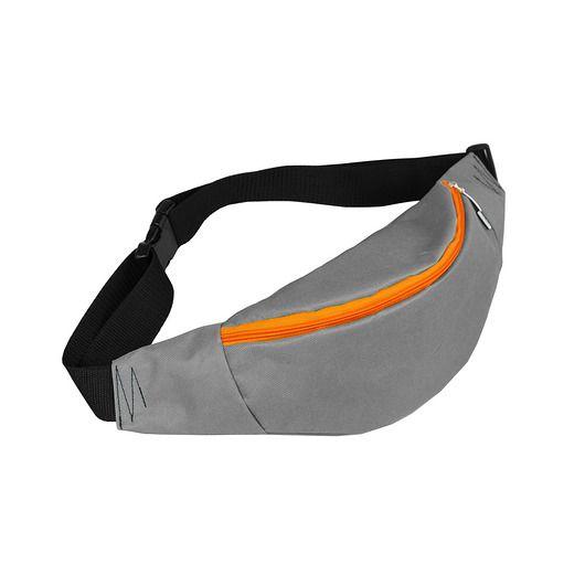 NERKA saszetka unisex szara pomaranczowy zamek #nerka #hipbag #beltbag #orange #gray
