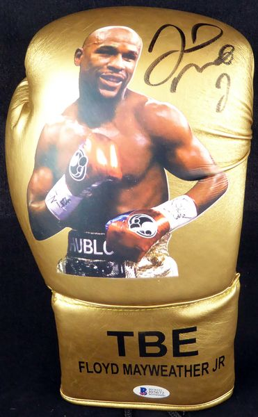 Floyd Mayweather Jr. Autographed Signed Gold Boxing Glove With Photo RH - Beckett COA