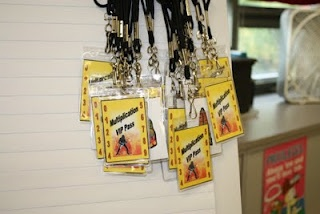 Multiplication VIP cards- Students receive a star hole punch for every multiplication drill they pass! (Maybe change the theme)