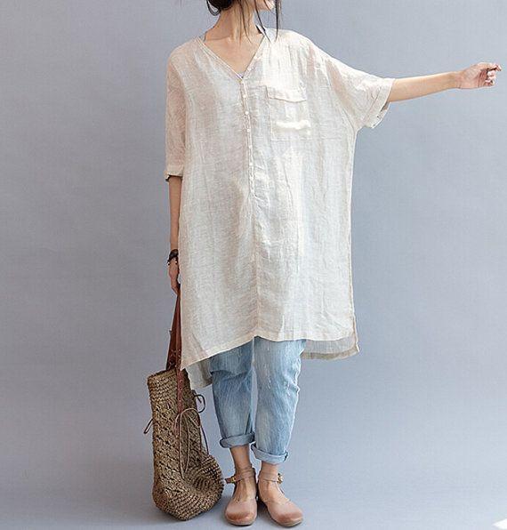 summer Women linen Loose Fitting Linen Long Shirt by MaLieb, $99.00