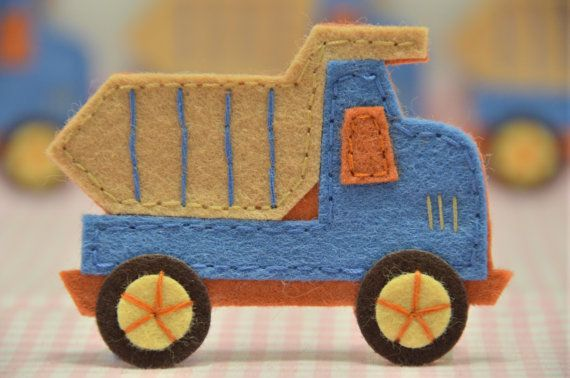 "Felt Truck - Mary sez: ""I ordered this set and it's wonderful, beautifully hand-sewn. I'm making one into an ornament, the other on my kid's jacket, saving the others for something else."