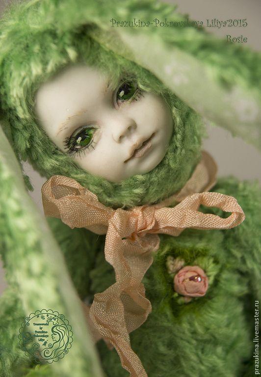 "Купить Тедди-долл Зайка Рози ""В сердце живет весна"" - салатовый, тедди"