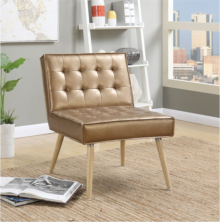 Ave Six Amity Sizzle Copper Fabric Tufted Accent Chair