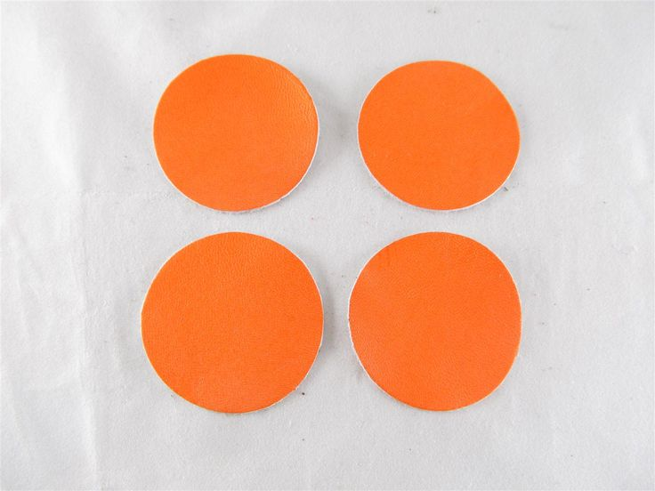 Orange leather discs 45mm (2 pcs) DIY cut leather flowers Craft supplies Jewelry materials Leather pieces