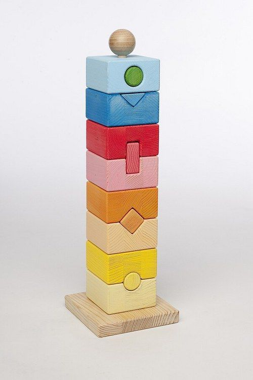 geometric wooden stacking toy