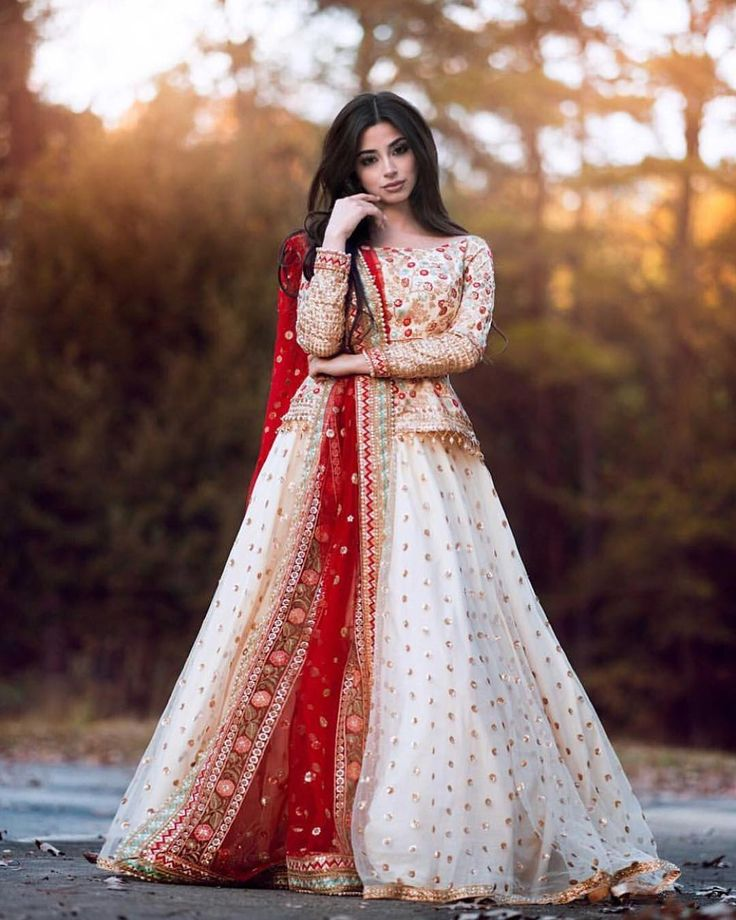 Pretty ivory and red Pakistani gown