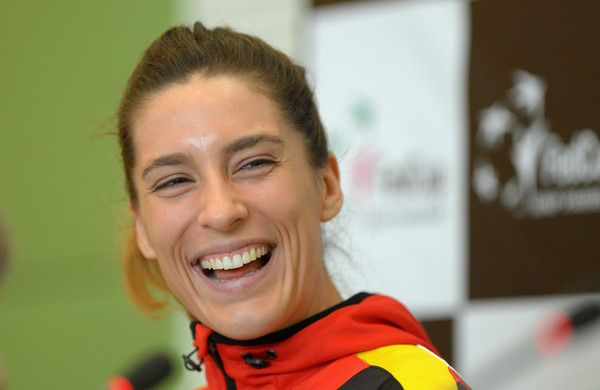 Andrea Petkovic: Fed Cup Team Germany - Press Conference - (Source: Thomas Eisenhuth/Bongarts)