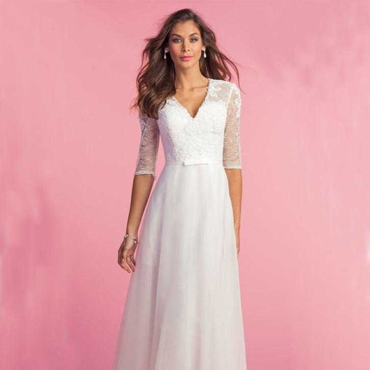 Elegante trouwjurk met kanten top bruidsjurk met 1/2 mouw
