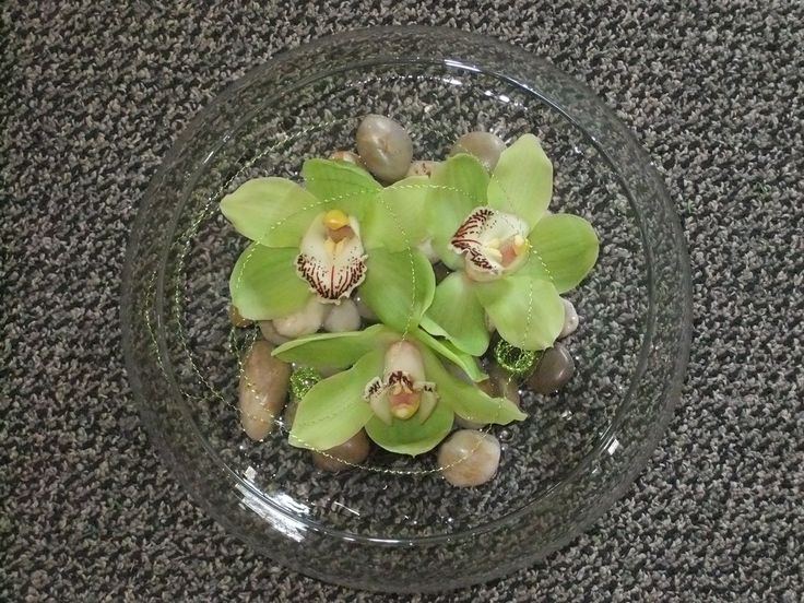 Limelight, glass rectangular cube, green leucadendron, kermits, fugis & dianthus