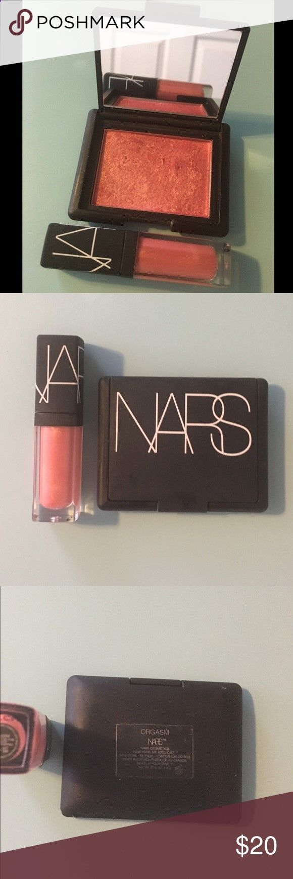 NARS Orgasm Blush and Mini Orgasm Lip Gloss! Barely used (maybe 4-5x) NARS Blush in Orgasm and never used, matching Orgasm lip gloss mini! Both are gorgeous shades of peachy pink--Orgasm Blush is well known for looking great on nearly all skin tones! Blush palette is at least 90% full! Brushes used on Blush were disinfected between applications! Thanks for looking! ❤️🌺❤️ NARS Makeup Blush