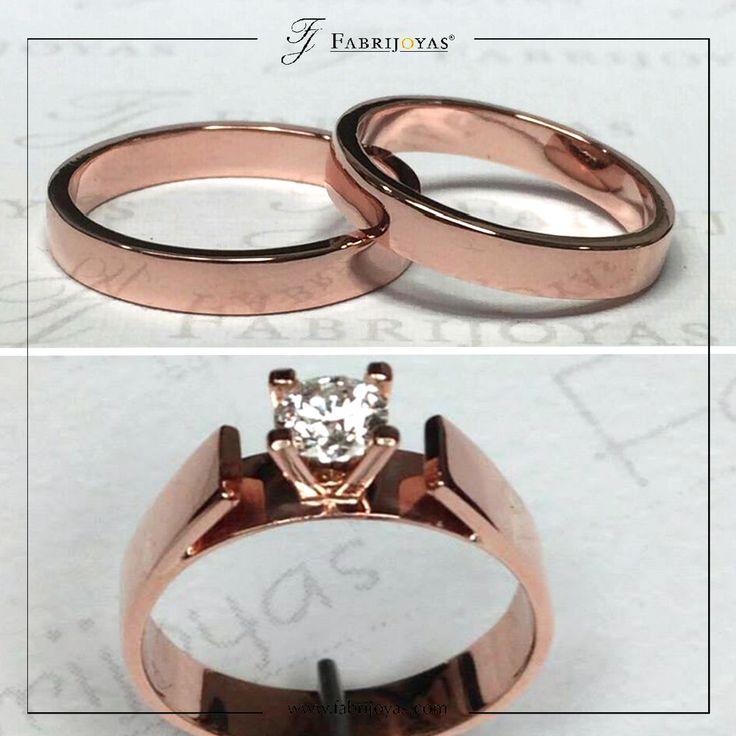 Anillos de Compromiso y Argollas de Matrimonio en oro rosa, este metal rebosa romanticismo, con un serio poder de permanencia.  #AnillosDeCompromiso #ArgollasDeMatrimonioCali #JoyeriaNoviasCali