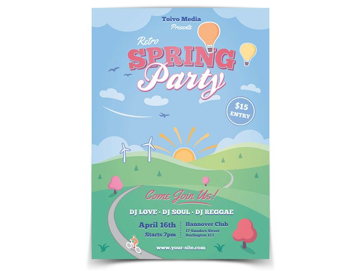 Spring Party Flyer Template - buy it here: https://graphicriver.net/item/easter-and-spring-flyer/19502912?ref=ToivoMedia