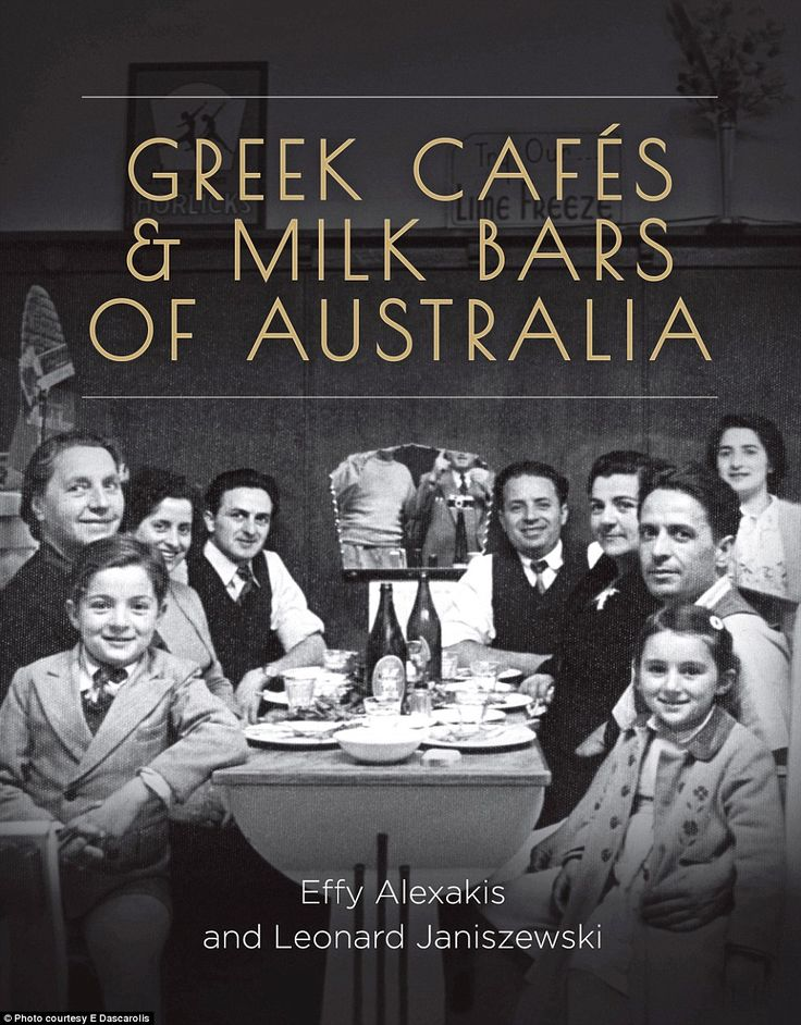 The cover of the new book Greek Cafes & Milk Bars of Australiashows the Theodorakis family and friends at their Cootamundra cafe in 1952 (from left) George Theodorakis, 8, Maria Coombes, Katina and Spiro Vardis, Nick, Marea, Manoli and Chrisanthy, 4, Theodorakis and at the back, Evangelina Theodorakis