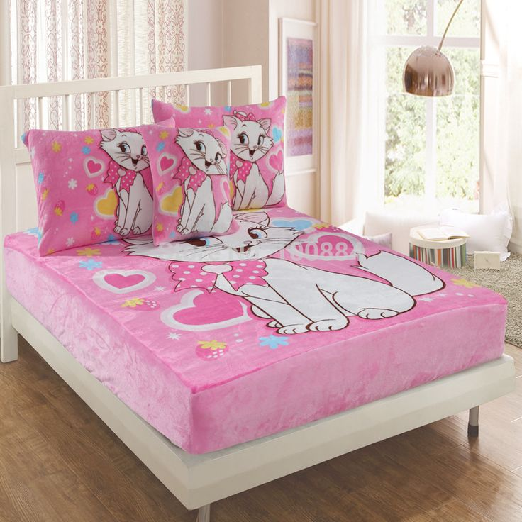 Coral fleece cat print kids bedding set,3pc bed sheet sets without filling,flannel pink cat bedding set,kids cat bedspreads twin