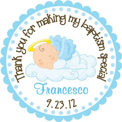 Our Little Angel Baby Boy Personalized Stickers - Party Favor Labels, Address Labels, Christening, Baptism - Size Choice on Etsy, $6.00