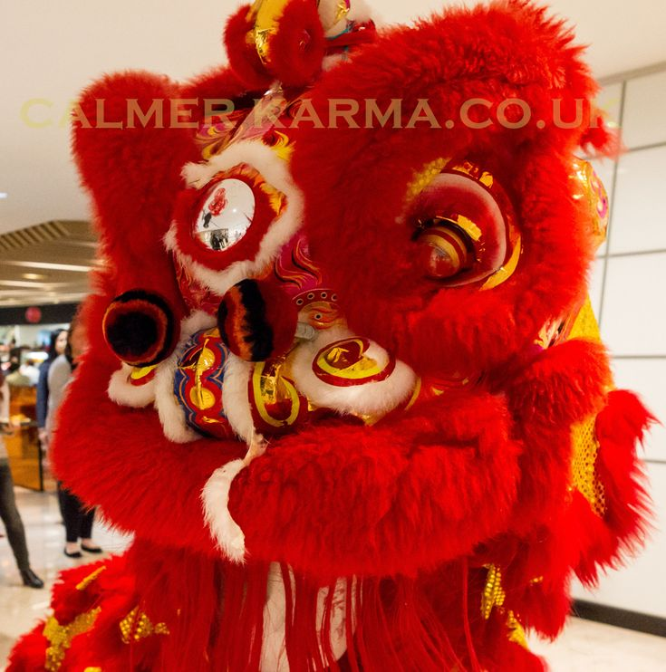 Red Chinese Lion with live musicians and herder entertaining guests for Chinese New Year at this prestigious city bank in London.