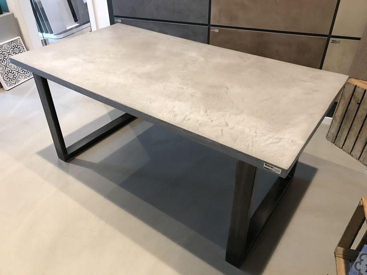 diy concrete table beton tischlpaltte selbst beschichten beton cir von carameo - Table Salle A Manger Beton Cire