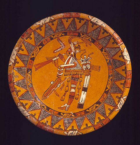"""tlatollotl: """" Plate with Trumpeter Guatemala or Mexico. century AD """" One variety of Maya polychrome ceramic vessel is a plate or shallow bowl that is decorated with a central figure framed by a band of repeated motifs. This example. Maya Civilization, Vases, Mesoamerican, Black And White Painting, Inca, Arte Popular, Indigenous Art, Mexican Art, Ancient Civilizations"""