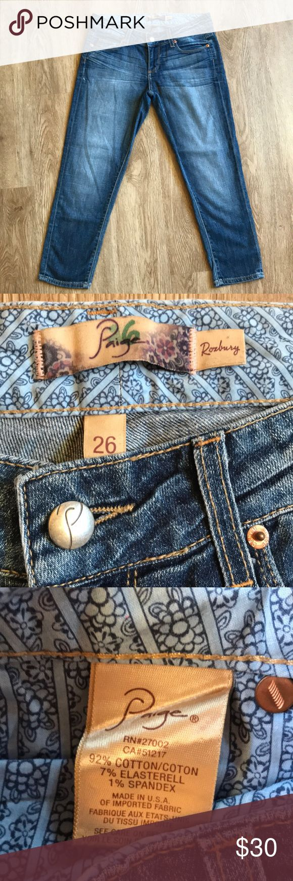 "Paige jeans Roxbury cropped, size 26, EUC! Paige jeans Roxbury cropped, size 26, EUC! Inseam-23"" Rise-7.5"" Waist-15.5"" (side to side measurement) PAIGE Jeans Ankle & Cropped"