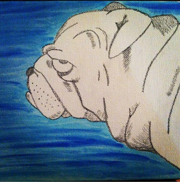 Original watercolor and pencil #englishbulldog