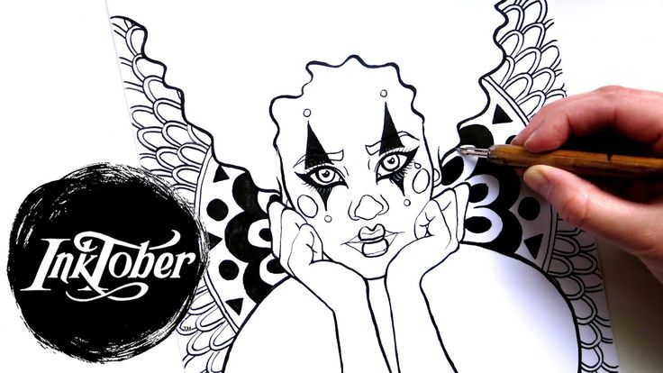 "INKTOBER Halloween Clown #inktober2016 || FW Acrylic Artists Ink. Inktober 2016 Day 2. This graphic circus clown drawing was inspired by Halloween Harlequin clown make-up tutorials on YouTube. I altered the original sketch for an acrylic painting by adding patterns to the background and ""CIRCUS"" sign to make the clown pop. This was a really fun ink project."