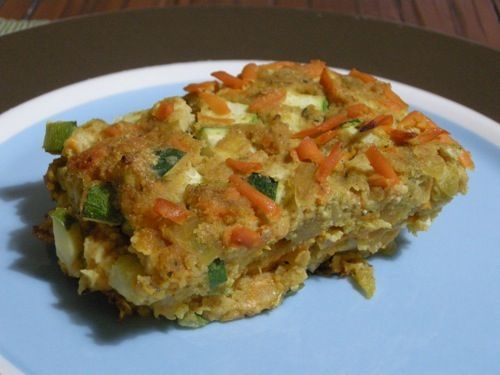 Southwest Zucchini Pie from Happy Herbivore. This website has tons of vegan and vegetarian recipies and even has a seach tool that allows you to search for certain ingrediants! :)