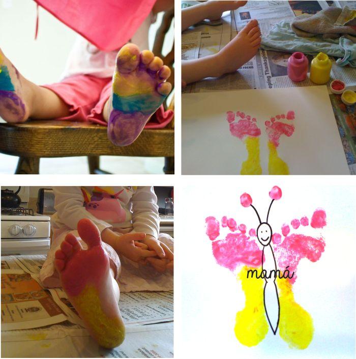 dibujar una mariposa con los pies