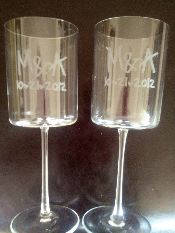 Etched Wine Glasses Wedding Gifts : Etched Glass, Wine Glass, Gift Etched, Etches Project, Diy Gifts ...