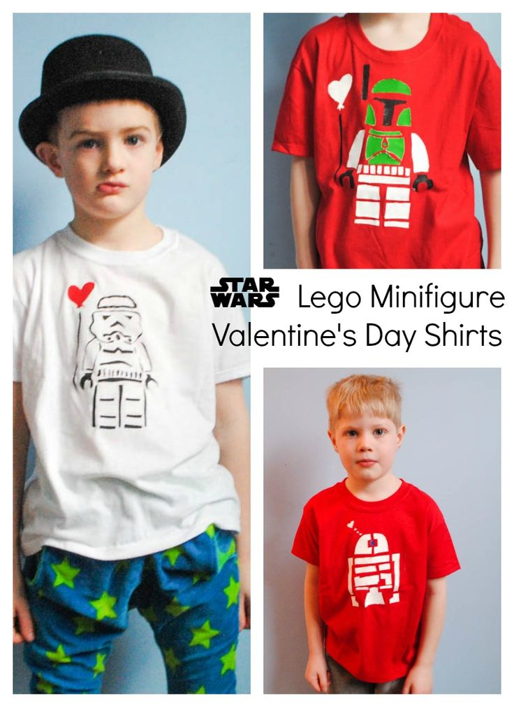 Star Wars Freezer Paper Stencil Valentine's Day Shirts (Free printable stencil).